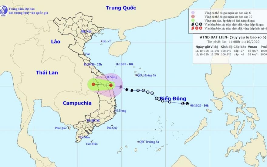 Hình ảnh đường đi của bão số 6