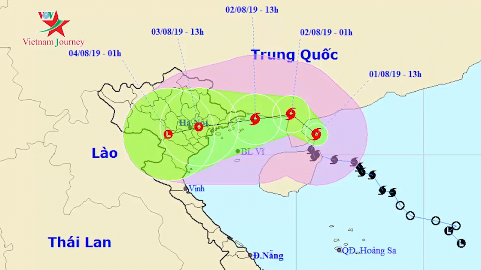 Tin cập nhật về bão số 3 - bão Wipha tới 15h ngày 1/8