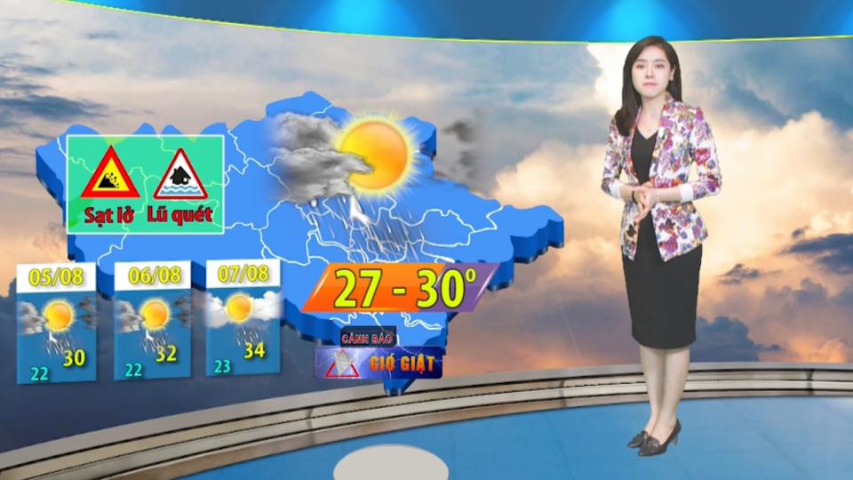 Dự báo thời tiết 3 ngày từ ngày 5/8/2019