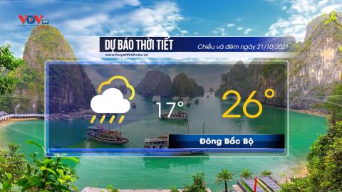 Dự báo thời tiết chiều và đêm ngày 21/10/2021 | Nam Bộ có mưa rào và rải rác có dông