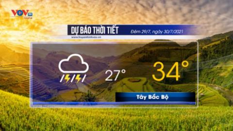 Dự báo thời tiết đêm 29/7 và ngày 30/7/2021 | Nam Bộ chiều tối mưa dông rải rác